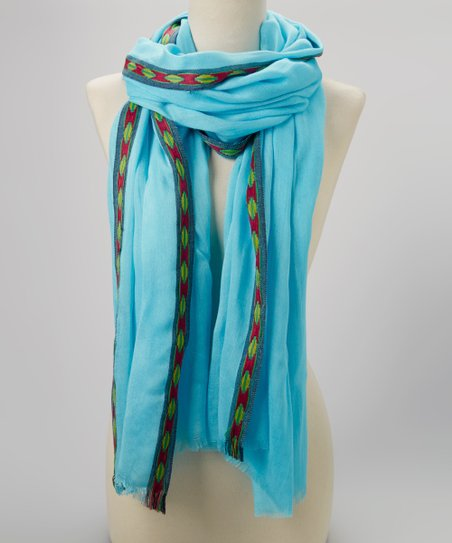 Blue Diamond-Trim Scarf