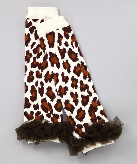 Tan Cheetah Ruffle Leg Warmers