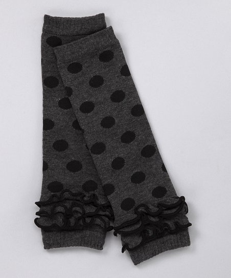 Gray Polka Dot Ruffle Leg Warmers