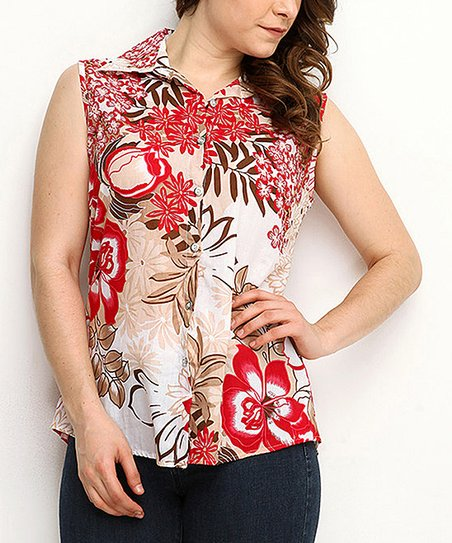 Red Floral Sleeveless Button-Up - Women