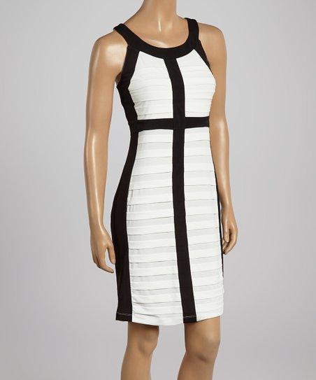 Black & Ivory Scoop Neck Sheath Dress – Women