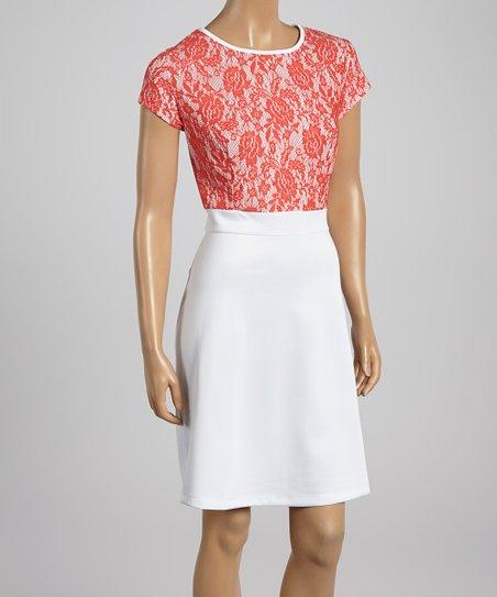 Coral & White Lace A-Line Dress – Women