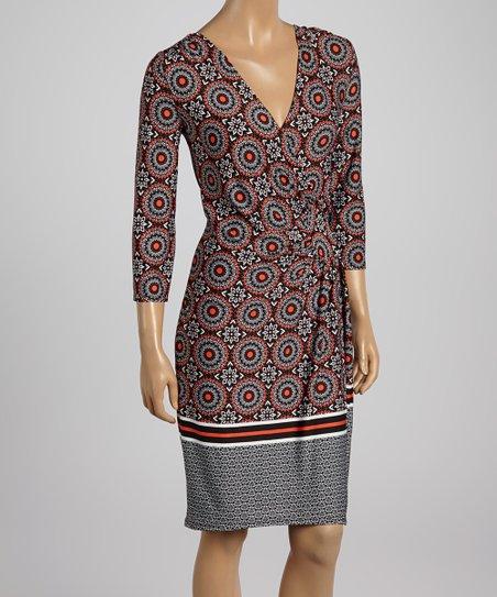 Black & Coral Geometric Surplice Dress – Women