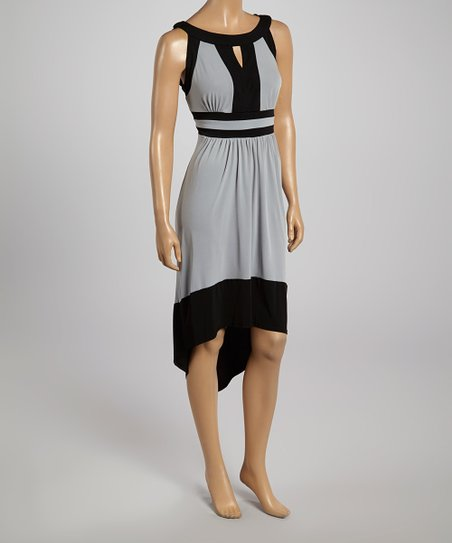 Silver & Black Keyhole Hi-Low Dress – Women
