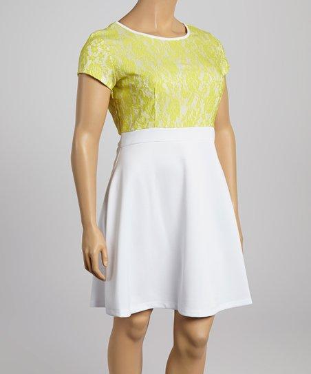 Lime Lace Scuba A-Line Dress – Plus