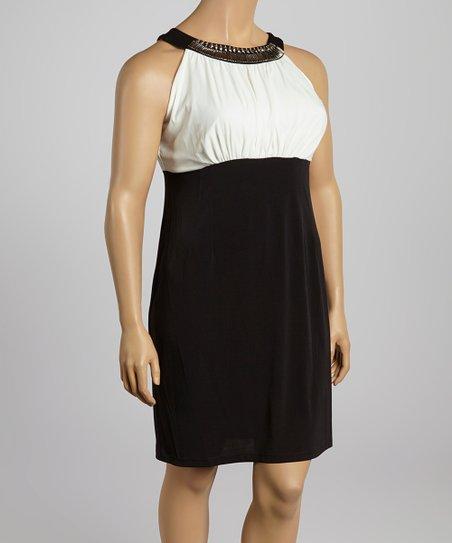 Ivory & Black Embellished Yoke Dress – Plus