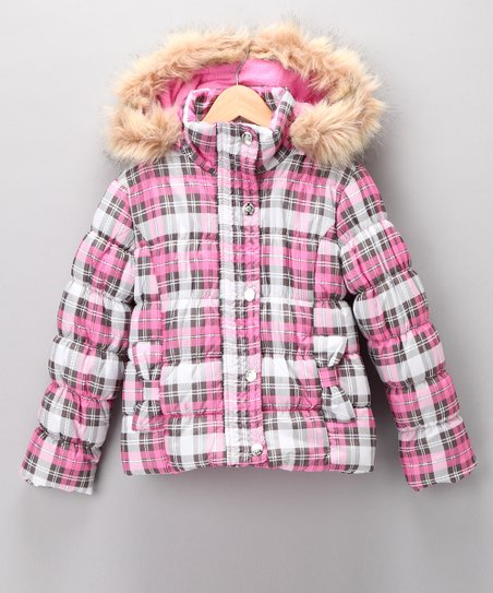 Pink Plaid Quilted Coat - Girls