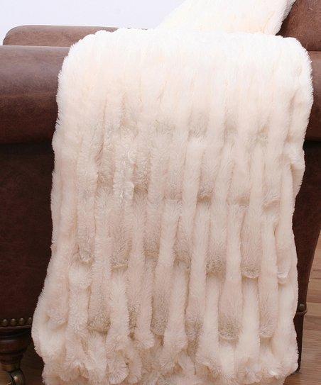Ivory Josephine Faux Fur Throw