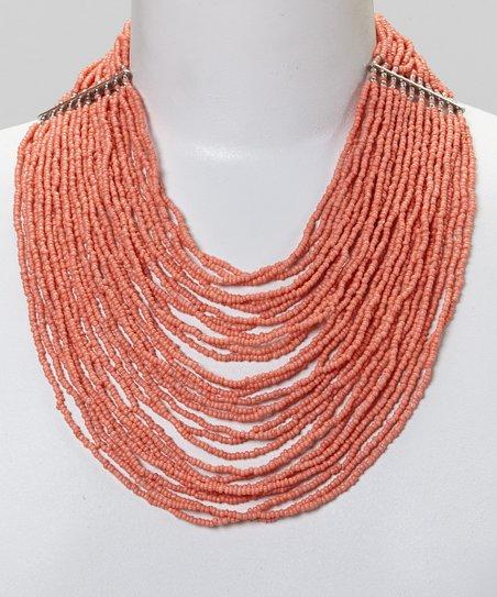 Silver & Coral Multi-Strand Bead Necklace
