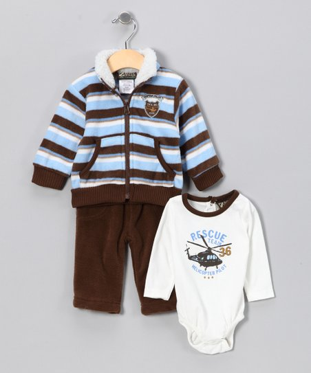 Blue & Brown Stripe Pilot Set - Infant