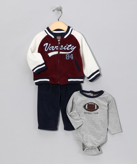 Maroon & Navy 'Varsity' Jacket Set - Infant