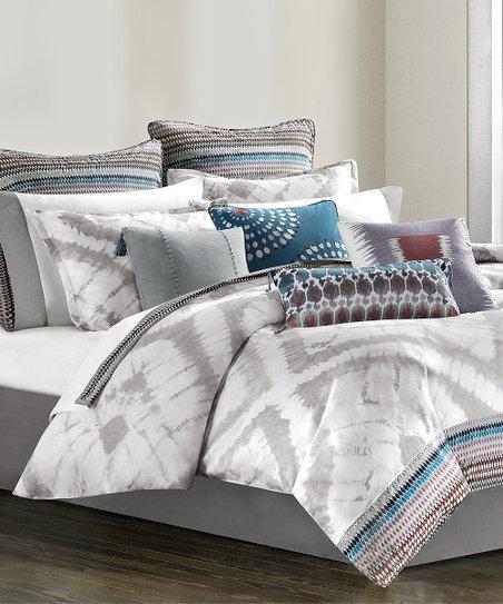 Gray Tie-Dye Tribal Blocks Comforter Set