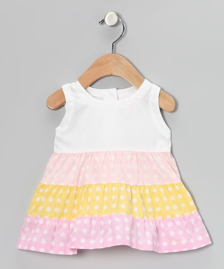 White & Pink Polka Dot Tiered Dress - Infant