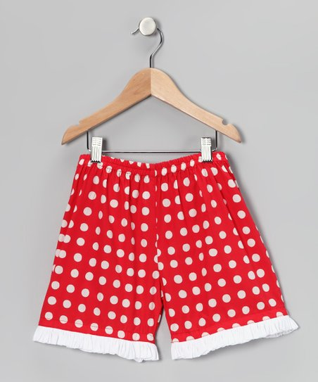 Red & White Polka Dot Ruffle Shorts - Girls