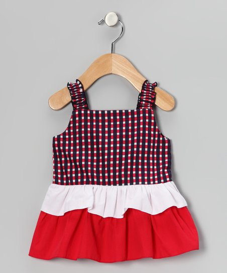 Red &amp; Navy Plaid Tiered Dress - Infant