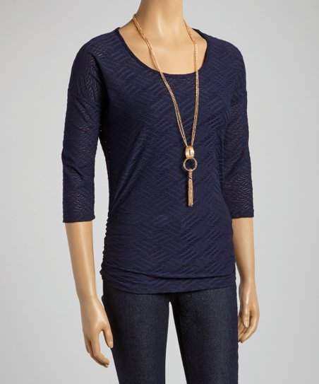 Navy Ruched Three-Quarter Sleeve Top – Women