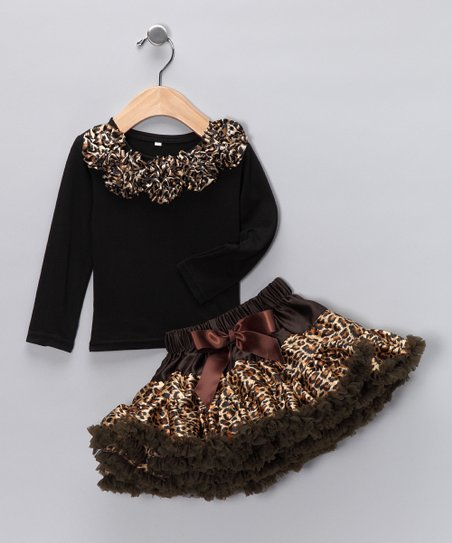Brown Rosette Tee & Cheetah Pettiskirt - Toddler & Girls