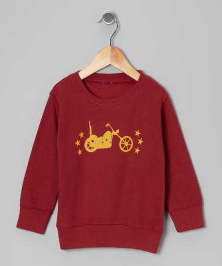 Maroon Vintage Motorcycle Sweatshirt - Toddler