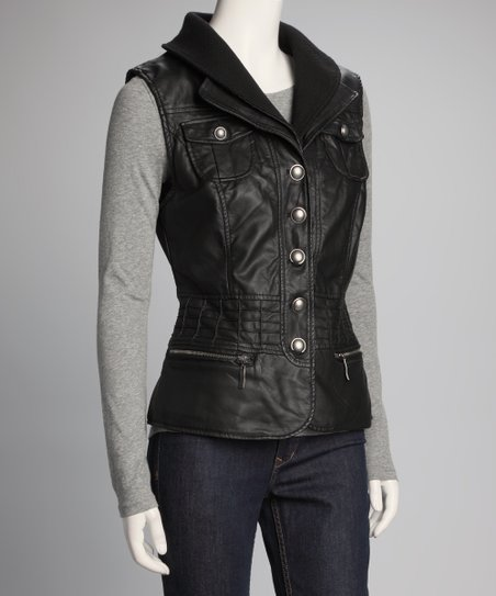Black Zipper Pocket Vest