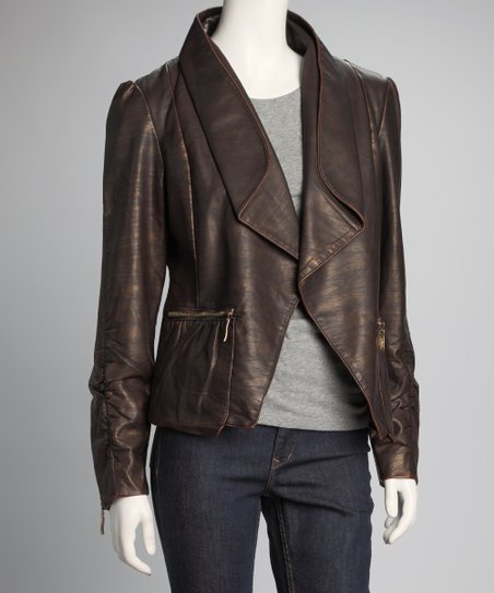 Dark Brown Shirred Jacket