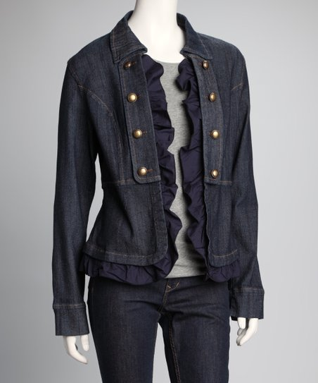 Denim Blue Ruffle Jacket