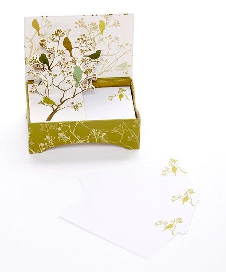 Chartreuse Birds Pop-Up Boxed Notepaper Set
