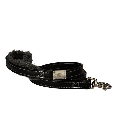 LazyBonezz Black Shearling Leash