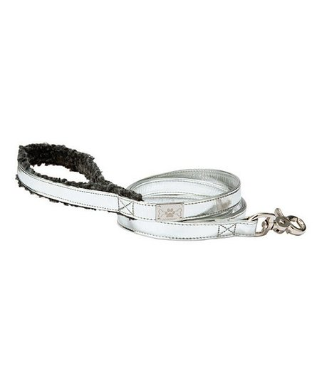 LazyBonezz Silver Shearling Leash