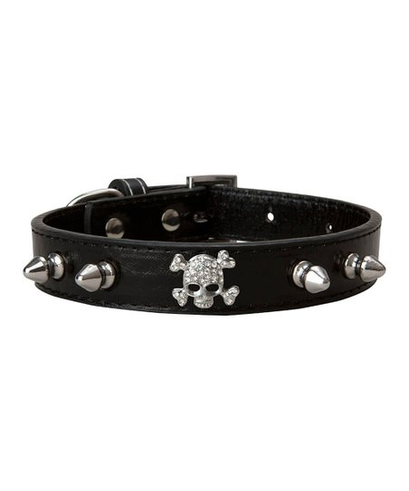 LazyBonezz Black Skull Dog Collar