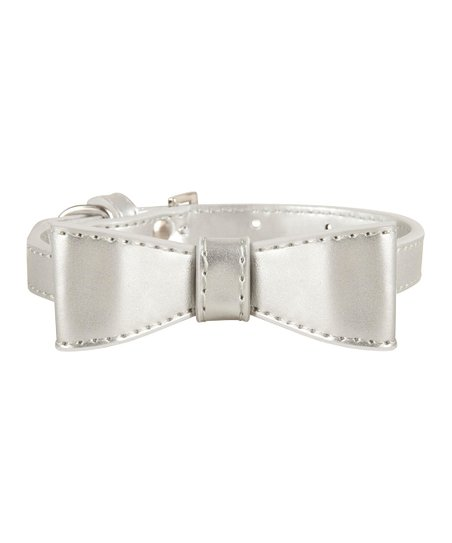 LazyBonezz Silver Bow Dog Collar