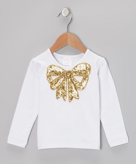 White & Gold Sequin Bow Long-Sleeve Tee - Infant, Toddler & Girls