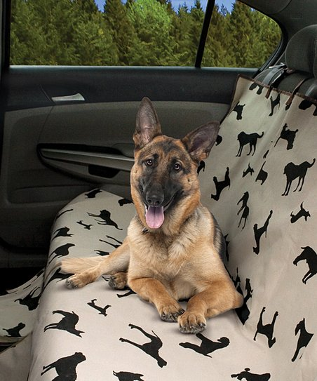 Beige & Black Dog Silhouette Pet Car Seat Cover