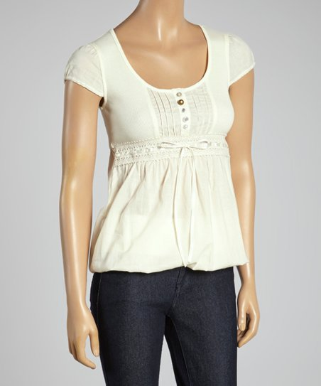 Cream Scoop Neck Top