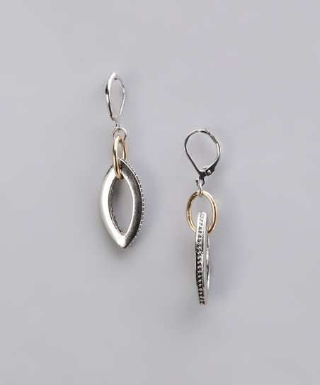 Silver & Gold Two-Tone Marquis Earrings