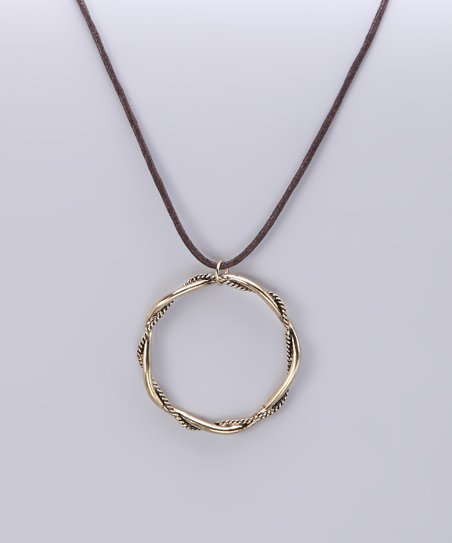 Burnished Gold Twisted Ring Pendant Necklace
