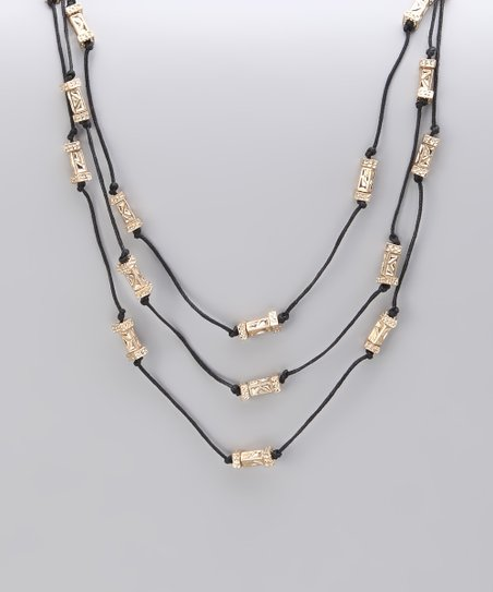 Gold Textured Bead Three Row Station Necklace
