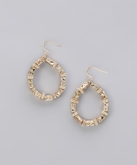 Gold Textured Bead Teardrop Earrings