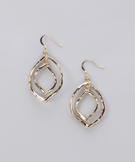Gold Hammered Double Leaf Earrings