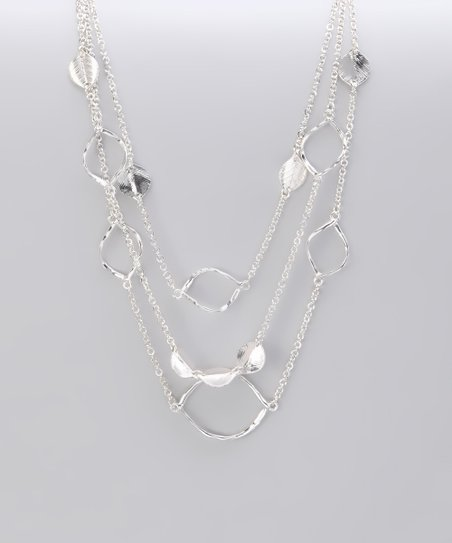 Silver Hammered Rings &amp; Leaf Station Necklace