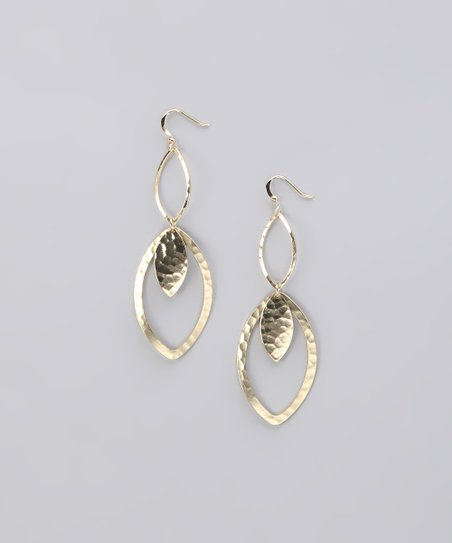 Gold Hammered Open Leaf Earrings