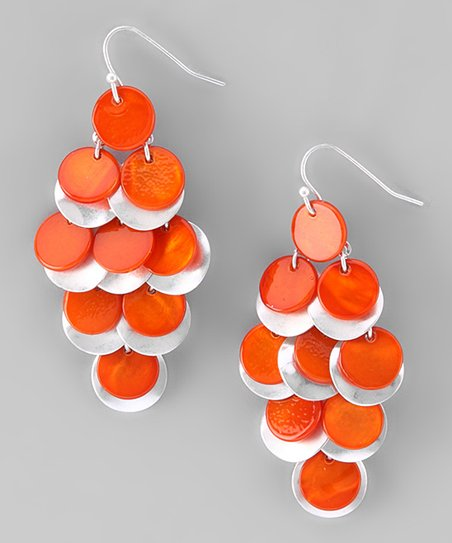 Orange Shell Chandelier Earrings