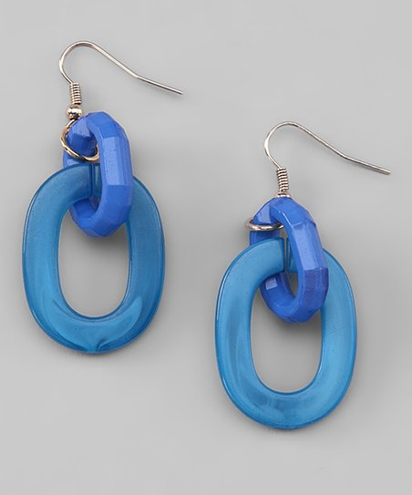 Blue Link Drop Earrings