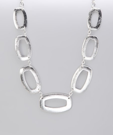 Silver Brushed Open Square Necklace