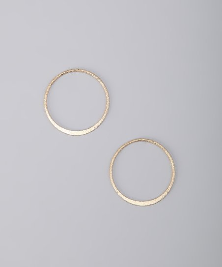 Gold Diamond Dust Open Ring Earrings