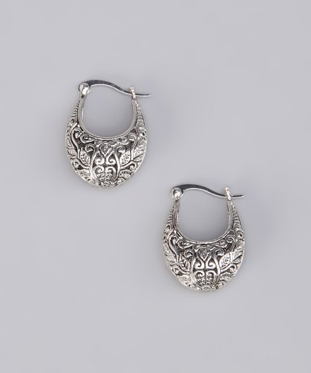 Silver Filigree Crescent Earrings