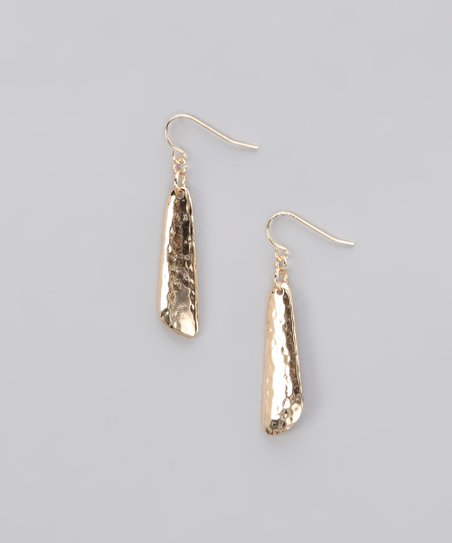 Gold Hammered Linear Drop Earrings