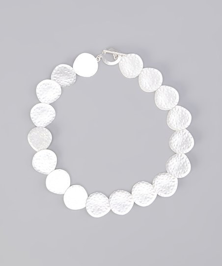 Silver Matte Hammered Disk Necklace