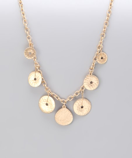 Gold Matte Hammered Dangling Disk Necklace