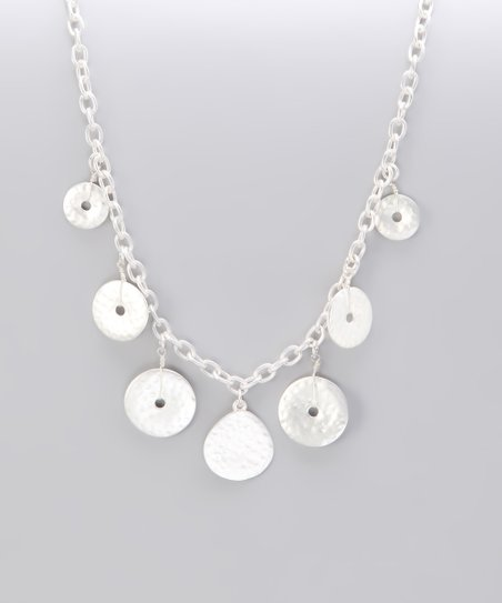 Silver Matte Hammered Dangling Disk Necklace