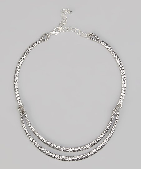 Silver Textured Double Row Collar Necklace